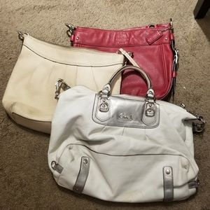 3 leather coach bags firm price
